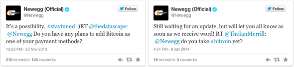 Newegg Bitcoin Tweets