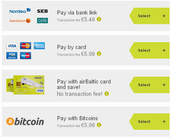 Airbaltic payment options bitcoin