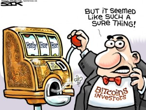 Investing in Bitcoins Cartoon by Steve Sack
