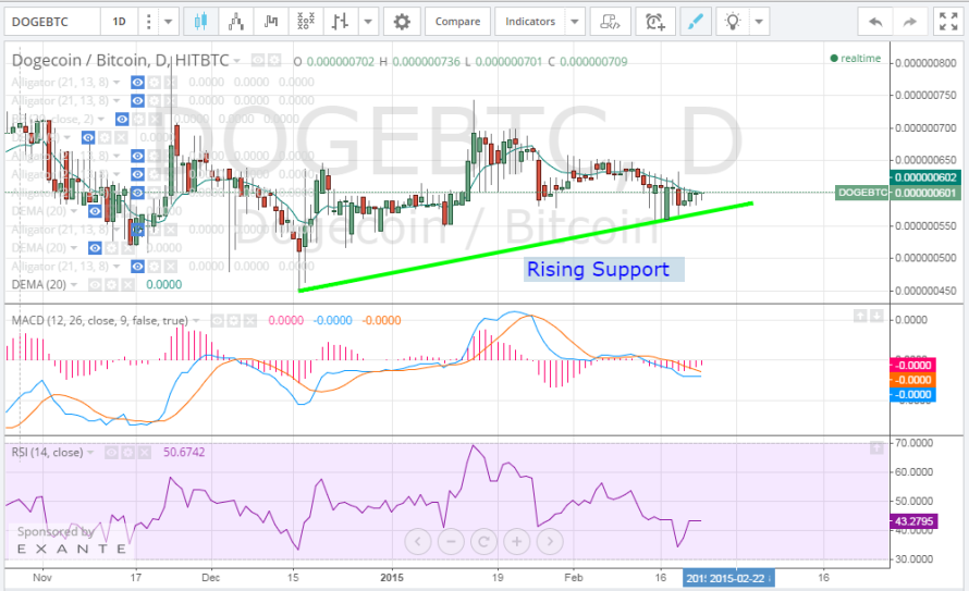 Dogecoin Price Technical Analysis for 23/2/2015 – Independent From Bitcoin