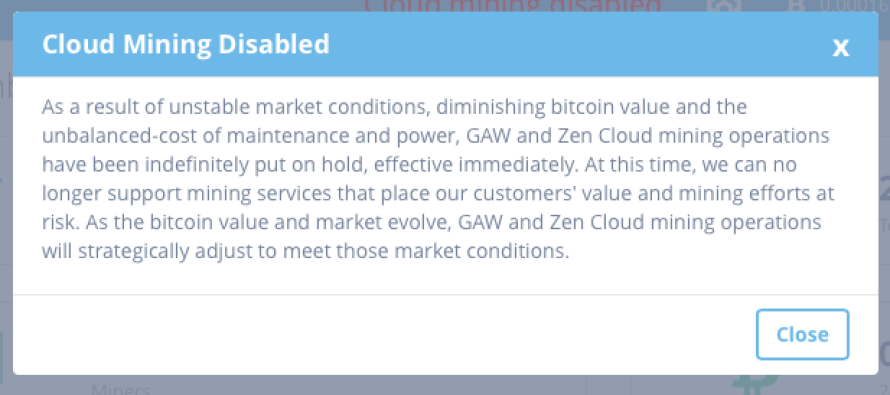Zenminer Cloud Mining Disabled – Indefinitely Put On Hold