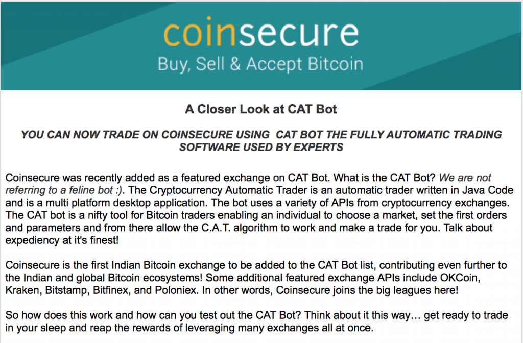 coinsecure, CAT bot