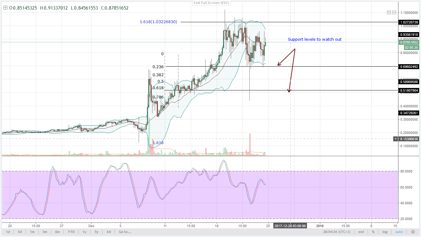 NEM consolidates 4HR chart technical analysis